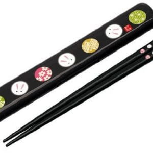 Japanese-Temari-Rabbit-Chopstick-and-Case-Black-0