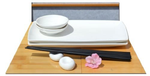 Japanese white set per sushi for two
